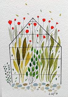 Papiernictvo - Pohľadnica skleník ilustrácia  / originál maľba  - 9116179_