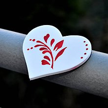 Magnetky - Magnetka Srdce Vetvička červená - 9118989_