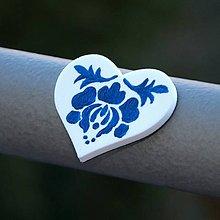 Magnetky - Magnetka Srdce Modrá kvetinka - 9119068_