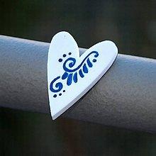 Magnetky - Magnetka Srdce modrý ornament - 9119087_