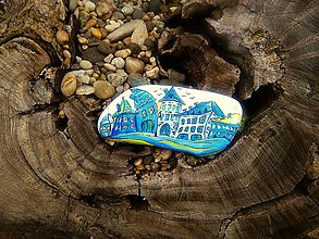 """Dekorácie - """"V Modrom mestečku"""" :-) dekoračný kameň - 9118363_"""