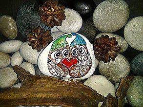 Dekorácie - Zamilované sovičky :-) dekoračný kamenček - 9118441_