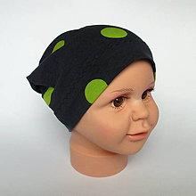 Detské čiapky - detská bavlnená čiapka (čierna s guľkami) - 9118289_