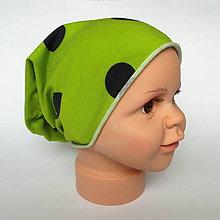 Detské čiapky - detská bavlnená čiapka (zelená s guľkami) - 9118351_