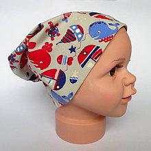 Detské čiapky - detská bavlnená čiapka (béžová morský svet) - 9118434_