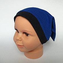 Detské čiapky - detská bavlnená čiapka (modrá s lemovaním) - 9118472_