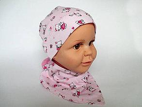 Detské čiapky - detská bavlnená čiapka (ružová s mačičkami) - 9118487_