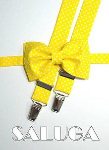 Doplnky - Pánsky žltý motýlik a traky na bodky - bodkovaný - 9116873_