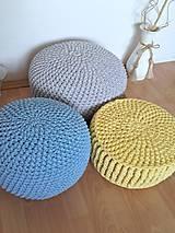 Úžitkový textil - Háčkovaný PUF svetlomodrý bavlna - 9116142_