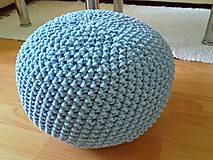 Úžitkový textil - Háčkovaný PUF svetlomodrý bavlna - 9116158_