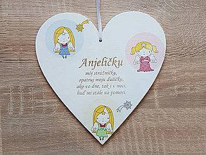 Detské doplnky - Tabuľka 17cm-Anjeličku môj - 9117463_