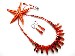 Sady šperkov - Tagua dientes rojo - 9118892_