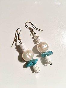 Náušnice - Náušnice s pravou perlou a tyrkysom - 9117218_