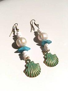 Náušnice - Tropické náušnice s pravou perlou - 9117846_