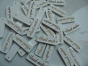 Galantéria - Štítky HANDMADE biele - 9117462_