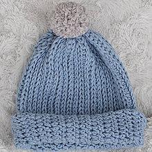 Detské čiapky - Merinová čiapočka...belasá - 9117565_