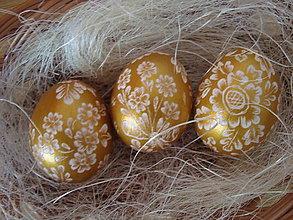 Dekorácie - Zlaté kraslice-vyškrabávané - 9117690_