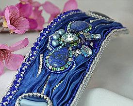 Náramky - Hodvábny náramok s lapis lazuli, Swarovski, parížska modrá - 9118174_