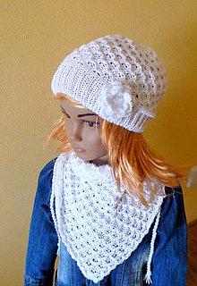 Detské čiapky - Snehobiela elegantna supravka prechodna SKLADOM - 9119083_