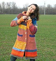 Kabáty - Kabát v teplých barvách - 9121996_
