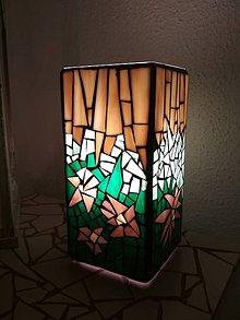 Svietidlá a sviečky - Mozaiková lampa...Tropické kvety - 9124286_