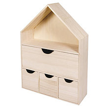 Polotovary - Drevený domček so 4 zásuvkami, FSC – 2 ks - 9120433_