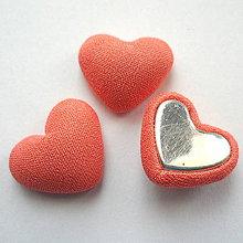 Polotovary - Látkové srdce 15x18mm-1ks (lososová) - 9121434_