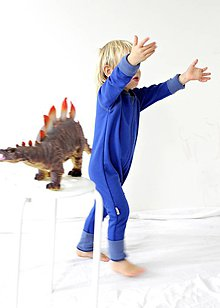 Detské oblečenie - TEPLÝ rastúci overal, bavlna - modrá (98-122cm (4-6rokov)) - 9121124_