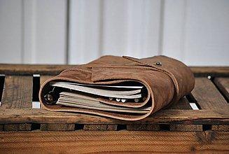 Papiernictvo - kombinovaný kožený zápisník - travel bag BASTIAN - 9122496_