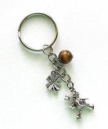 Kľúčenky - S kominárom, štvorlístkom a minerálom (tigrie oko) - 9123738_