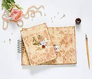 Papiernictvo - Svadobná sada béžovo-zlatá s damaškovým ornamentom (album + kniha hostí) - 9120396_