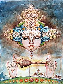 Obrazy - Dievča s vretenom Fine Art Print, S-L, papier/doska obraz portrét priadka vretienko Alica Belica - 9120127_