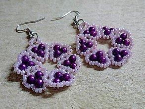 Náušnice - Pink & Lila - 9123674_