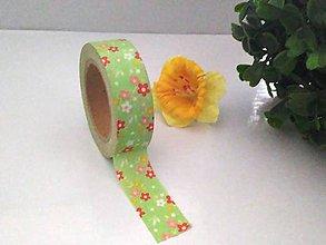 Papier - bielo - červené kvietky, washi - kreativne, dekoračné, ozdobné, papierové lepiace pásky - 9122568_