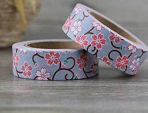 Papier - červené kvietky, washi - kreativne, dekoračné, ozdobné, papierové lepiace pásky - 9122767_