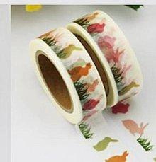 Papier - zvieracie motívy - zajac, washi, kreativne, dekoračné, ozdobné, papierové lepiace pásky - 9122784_