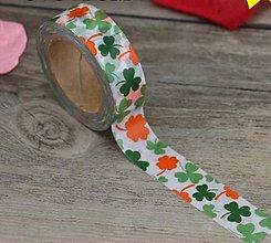 Papier - štvorlístok,oranžovo-zelený,washi- kreativne, ozdobné, dekoračné, papierové lepiace pásky - 9123177_