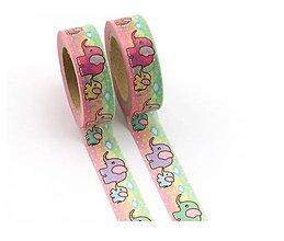 Papier - zvieracie motívy - sloník, washi, kreativne, dekoračné, ozdobné, papierové lepiace pásky - 9123252_
