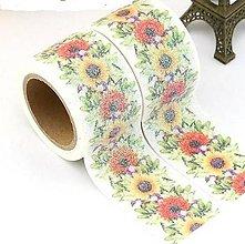 Papier - slnečnica - kvet, washi - kreativne, dekoračné, ozdobné, papierové lepiace pásky - 9123281_