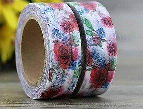 Papier - ruža - kvet, washi - kreativne, dekoračné, ozdobné, papierové lepiace pásky - 9123386_