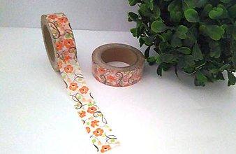 Papier - kvety - oranžové, washi - kreativne, dekoračné, ozdobné, papierové lepiace pásky - 9123685_