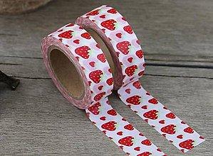 Papier - jahoda, washi - kreativne, dekoračné, ozdobné, papierové lepiace pásky - 9123740_