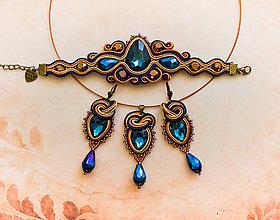 Sady šperkov - Madame de Pompadour-náramok, prívesok a náušnice (Modrá) - 9121014_