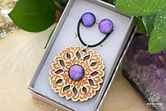 Sady šperkov - Rozprávkový kvietok (sada) - fialovo-ružový - 9123925_