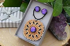 Sady šperkov - Rozprávkový kvietok (sada) - fialovo-ružový - 9123926_