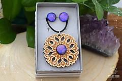 Sady šperkov - Rozprávkový kvietok (sada) - fialovo-ružový - 9123927_