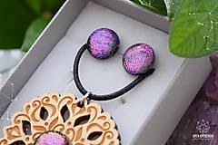 Sady šperkov - Rozprávkový kvietok (sada) - fialovo-ružový - 9123928_