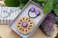 Sady šperkov - Rozprávkový kvietok (sada) - fialovo-ružový - 9123931_