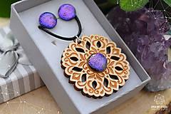 Sady šperkov - Rozprávkový kvietok (sada) - fialovo-ružový - 9123933_