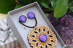 Sady šperkov - Rozprávkový kvietok (sada) - fialovo-ružový - 9123934_